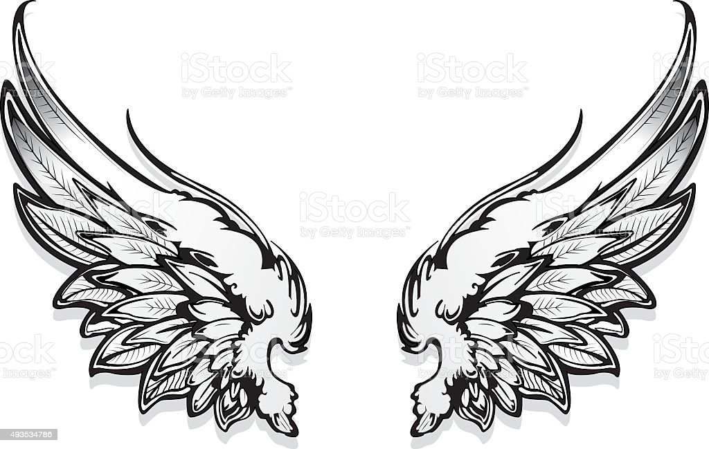Hand Drawn Angel Wings Vector Stock Art More Images Of