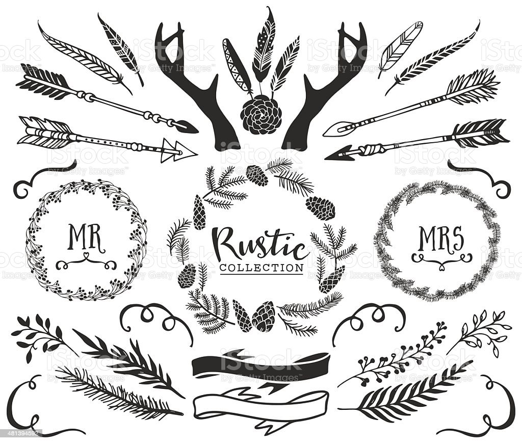 Hand drawn antlers, arrows, feathers, ribbons and wreaths vector art illustration