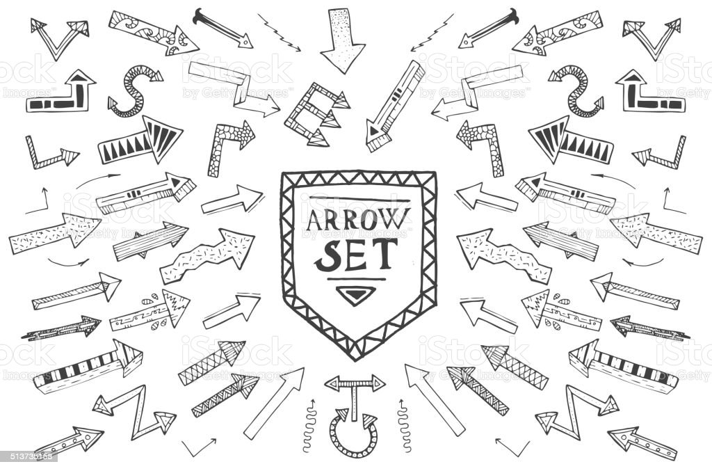 Hand drawn arrow icons set isolated on white background. vector art illustration