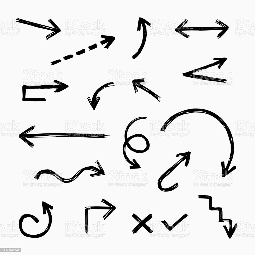 Hand drawn arrow set vector art illustration