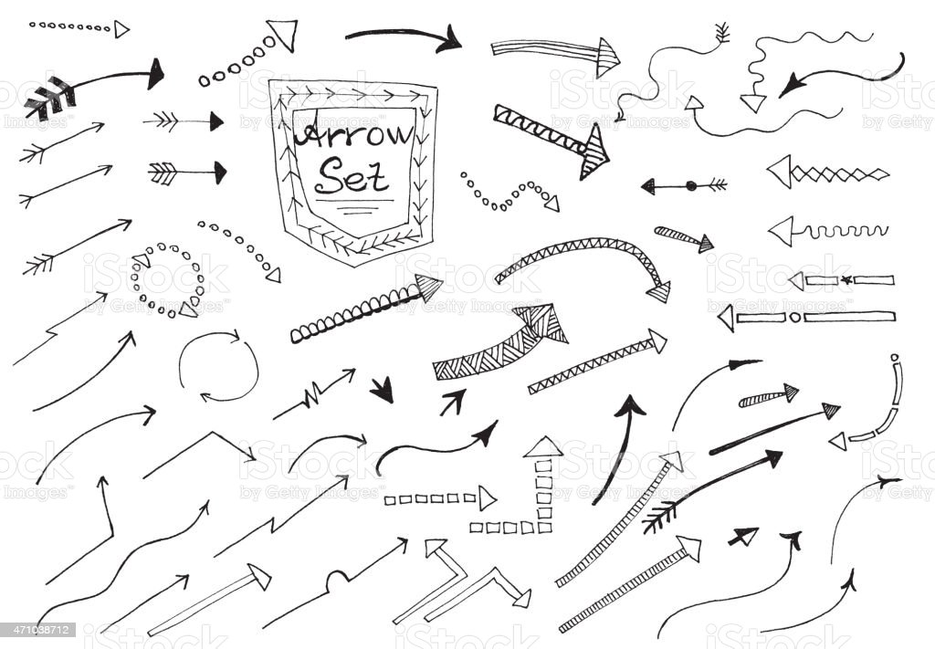 Hand drawn arrows vector art illustration