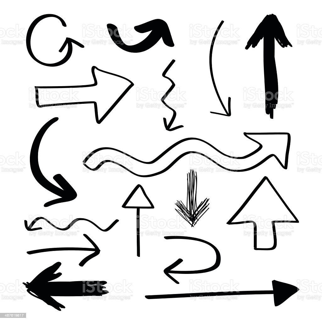 Hand Drawn Arrows vector art illustration