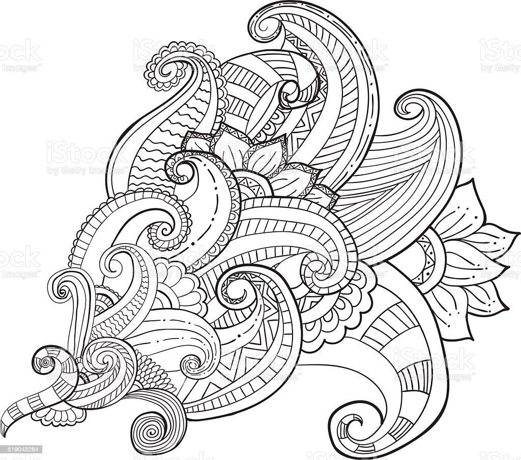 Hand drawn artistic ethnic ornamental patterned floral frame in doodle vector art illustration