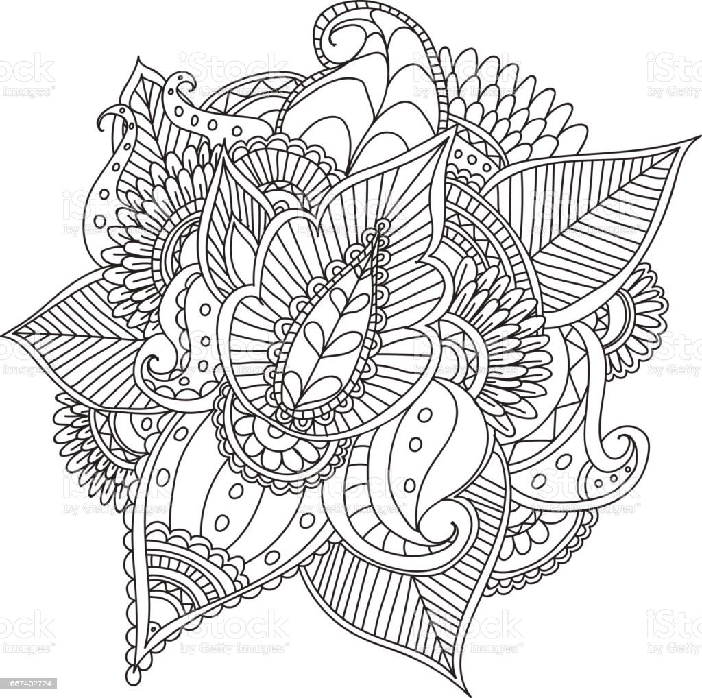 Hand drawn artistic ethnic ornamental patterned floral frame in doodle style,adult coloring pages,tattoo. vector art illustration