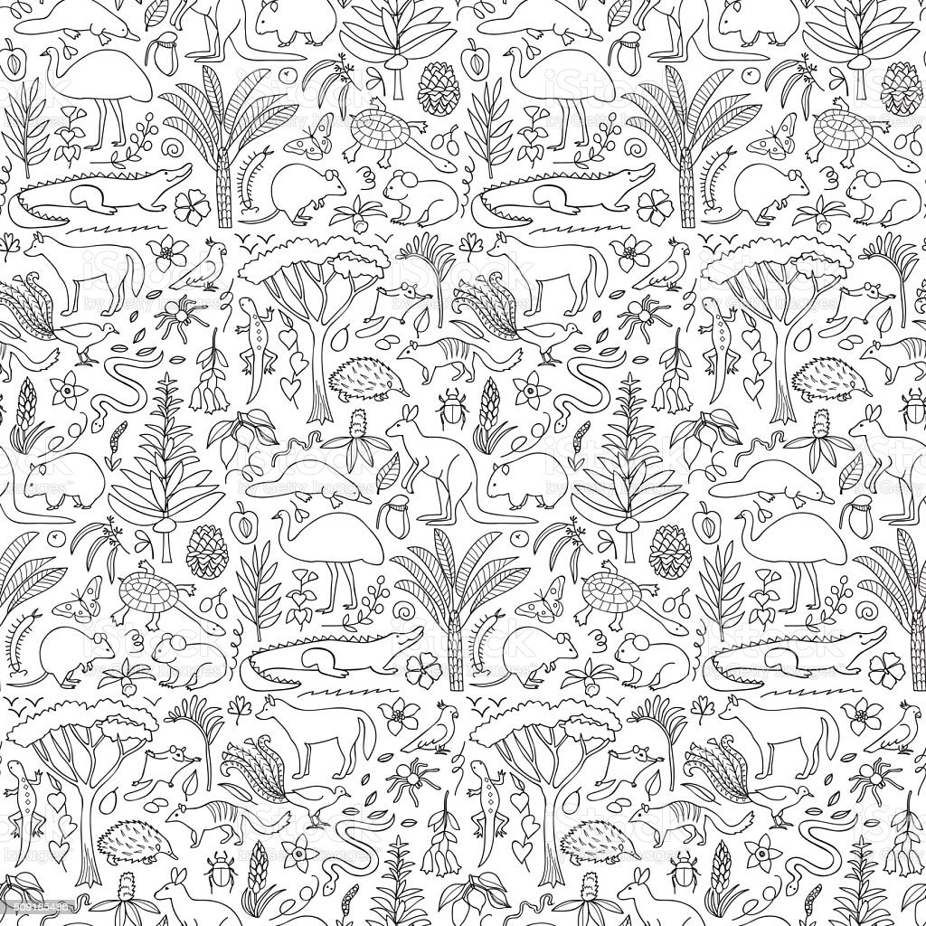 Hand drawn Australia seamless pattern vector art illustration