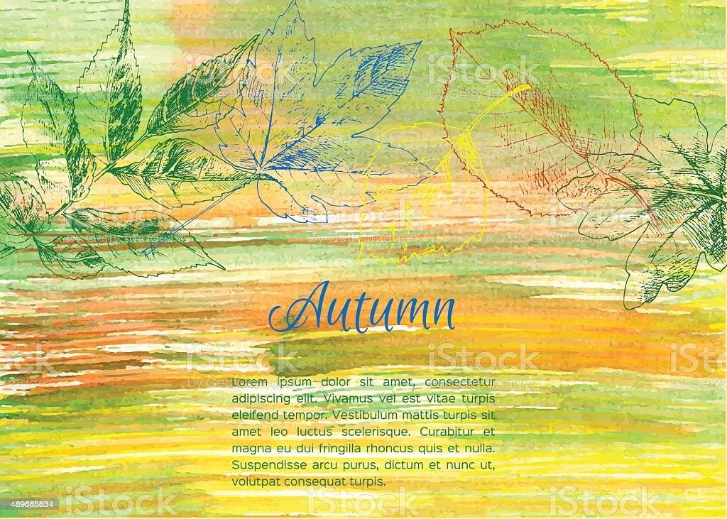 Hand drawn autumn leaves vector art illustration