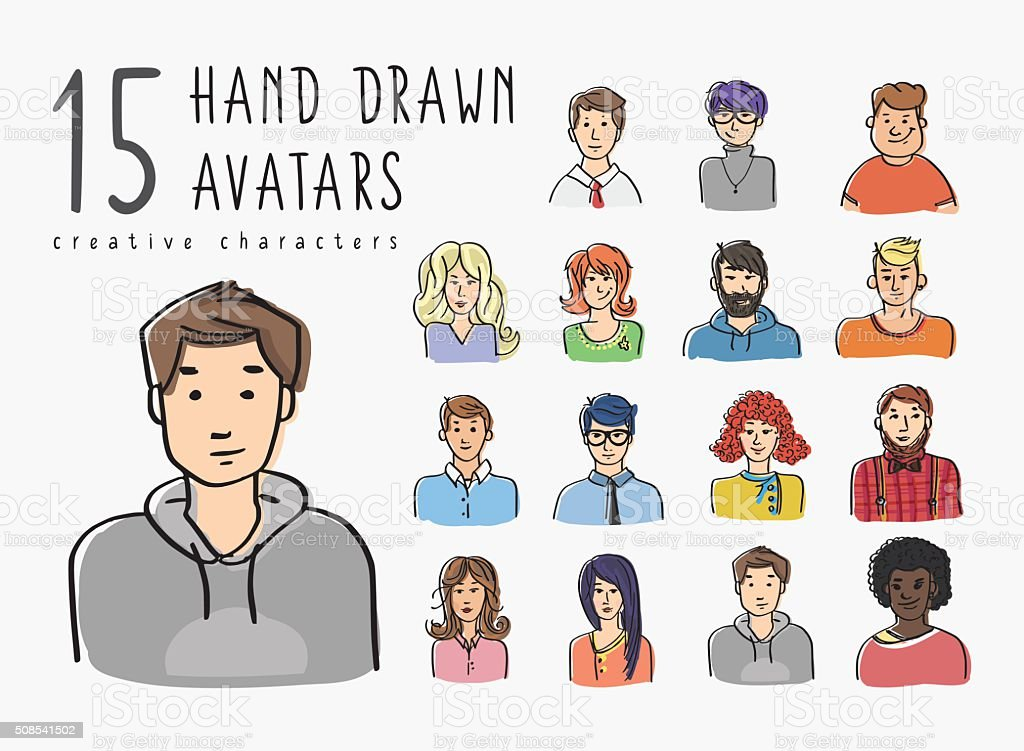 Hand drawn avatars set of different characters vector art illustration