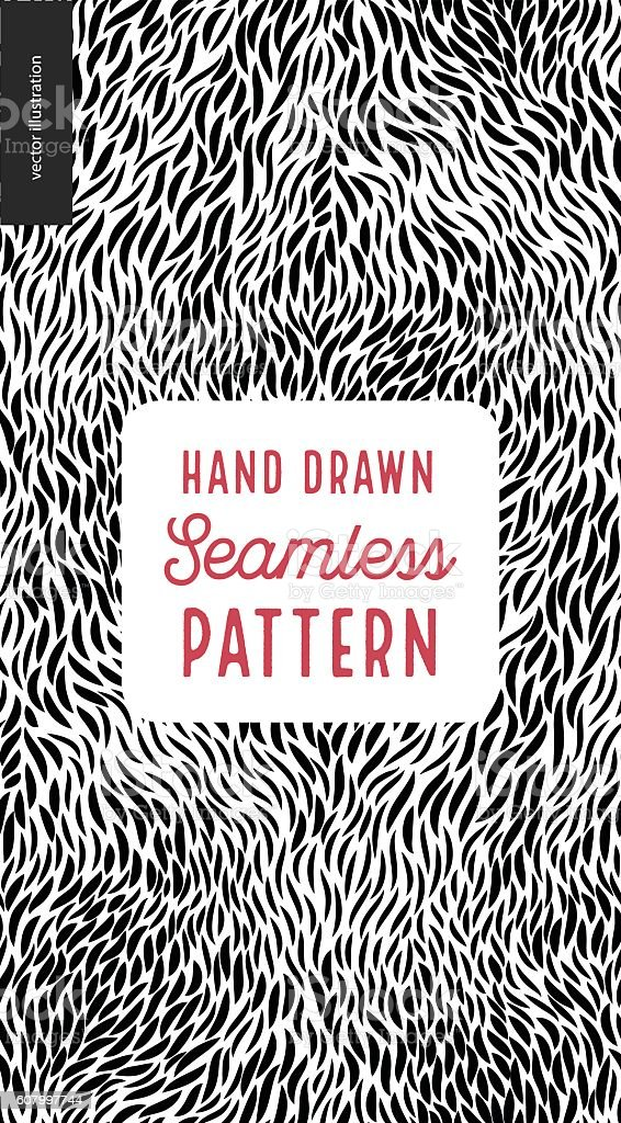 Hand drawn back and white pattern vector art illustration