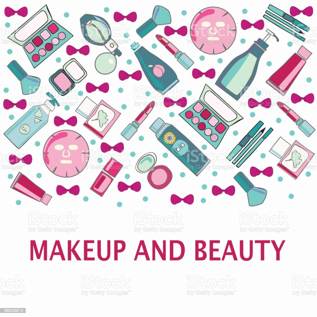 Hand drawn background of Make-Up, beauty and cosmetic product vector art illustration