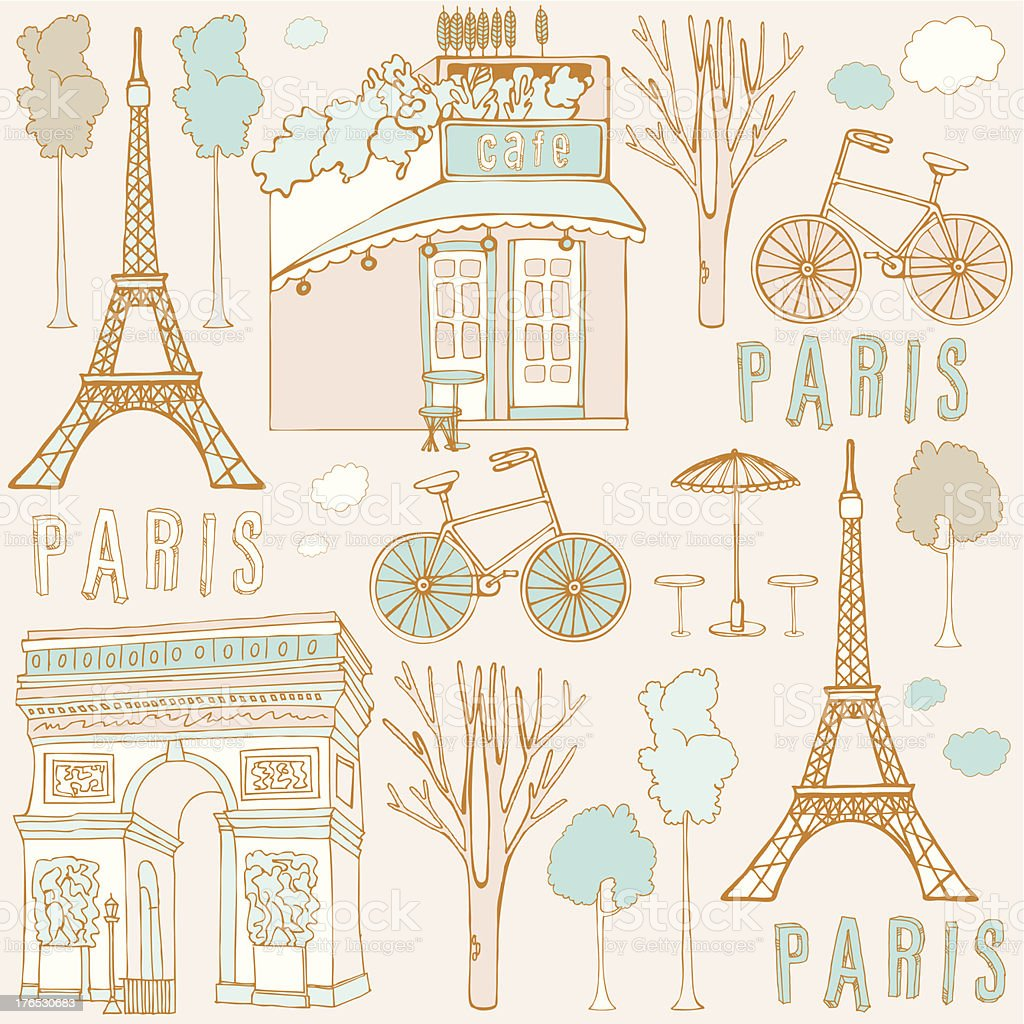 Hand drawn background with Paris symbols. royalty-free stock vector art