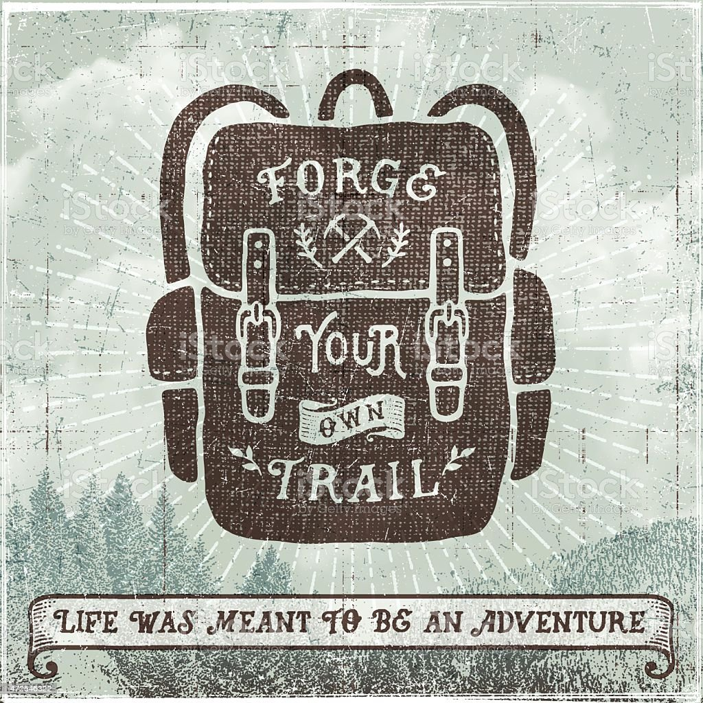 Hand Drawn Backpack,Hiking,Camping Sign vector art illustration