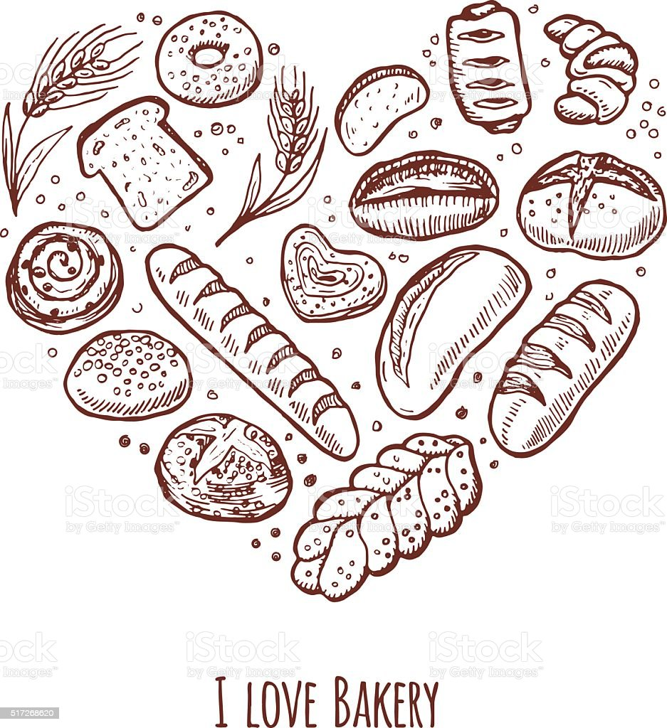 Hand drawn bakery icons set in the shape of heart. vector art illustration