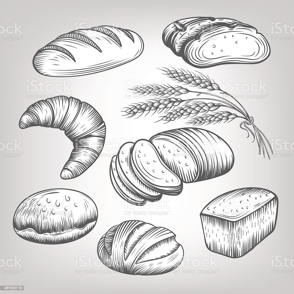 hand drawn bakery icons set vector art illustration