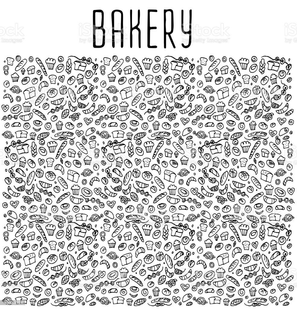 Hand drawn bakery seamless logo background. vector art illustration