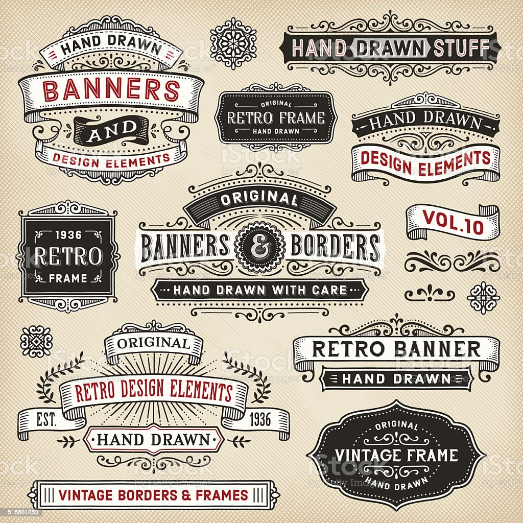 Hand Drawn Banners and Frames vector art illustration