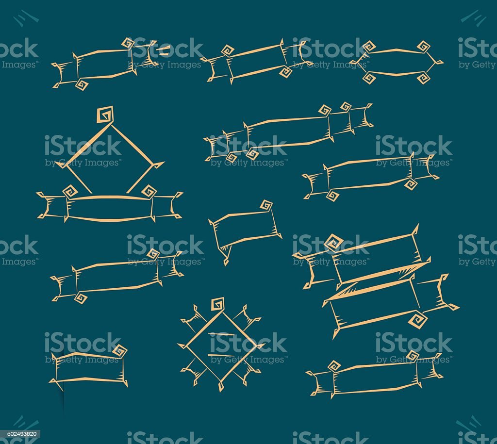 Hand drawn banners and labels vector art illustration