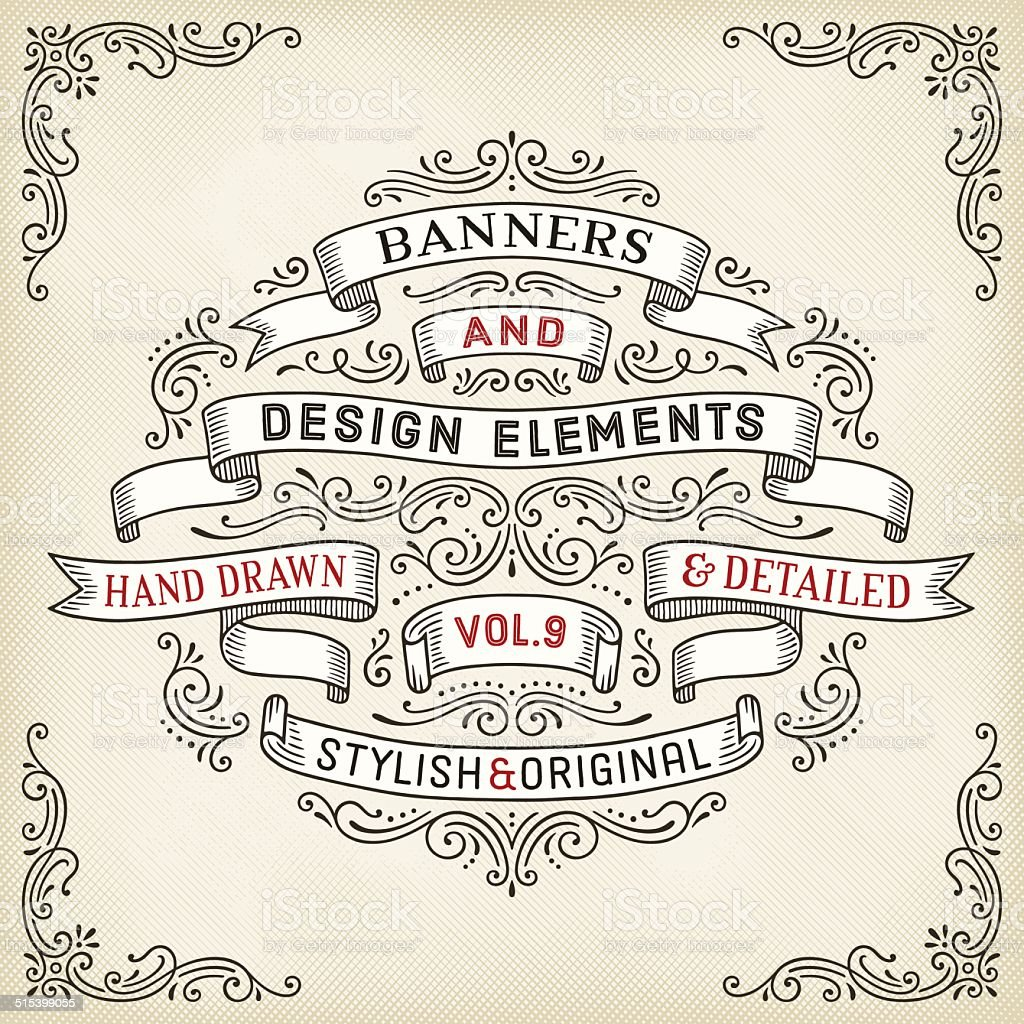 Hand Drawn Banners and Swirls vector art illustration