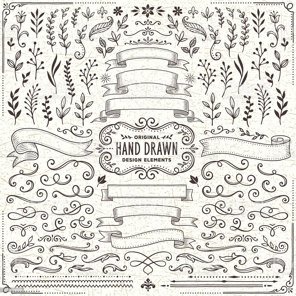 Hand Drawn Banners, Leaves,Flowers, Branches and Swirls vector art illustration