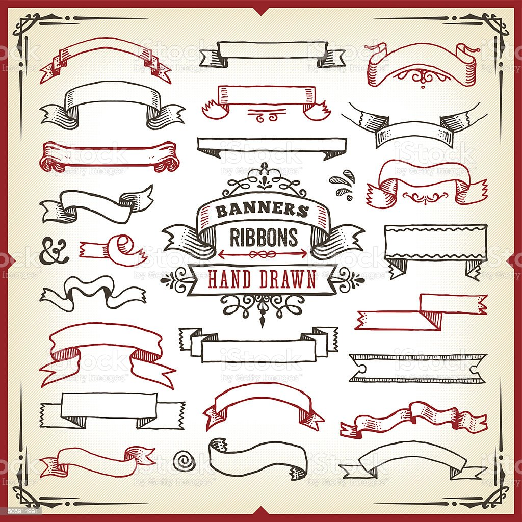 Hand Drawn Banners & Ribbons vector art illustration