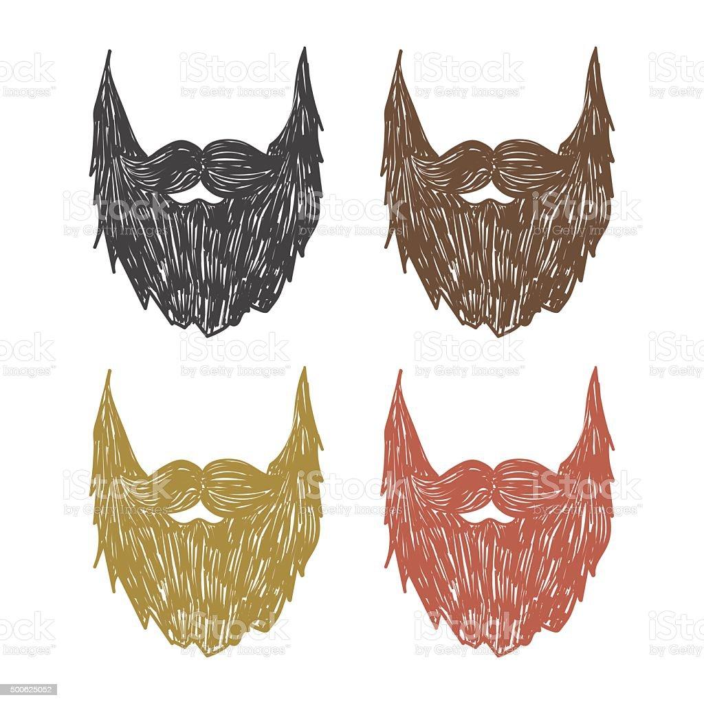 hand drawn beard vector art illustration