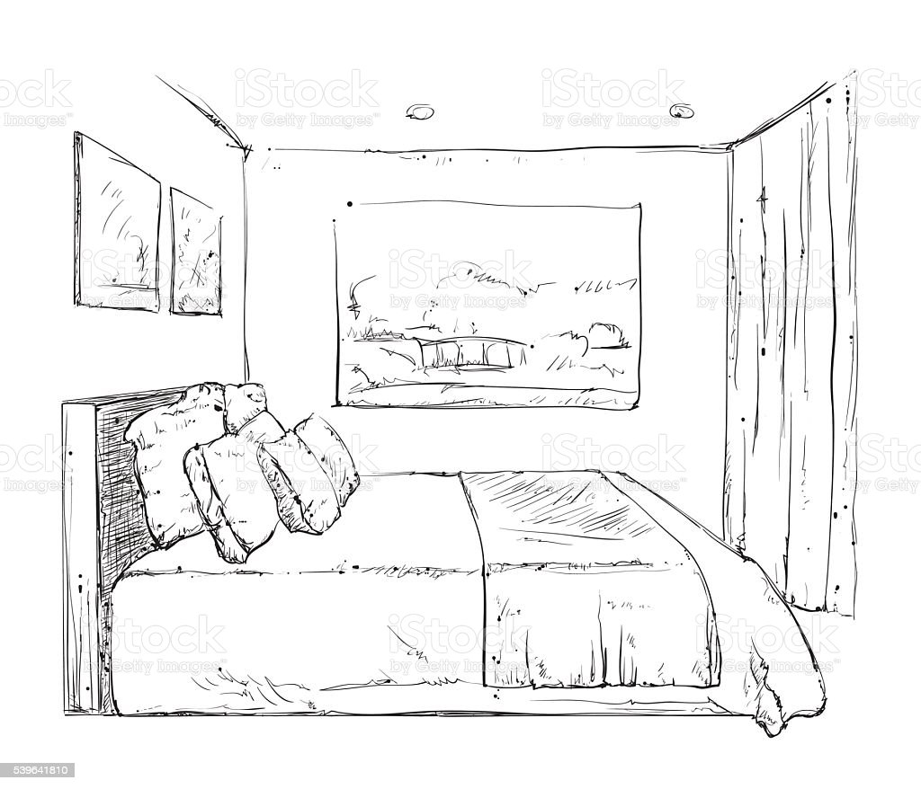 Hand drawn bedroom interior sketch stock vector art - Rideau chambre a coucher ...