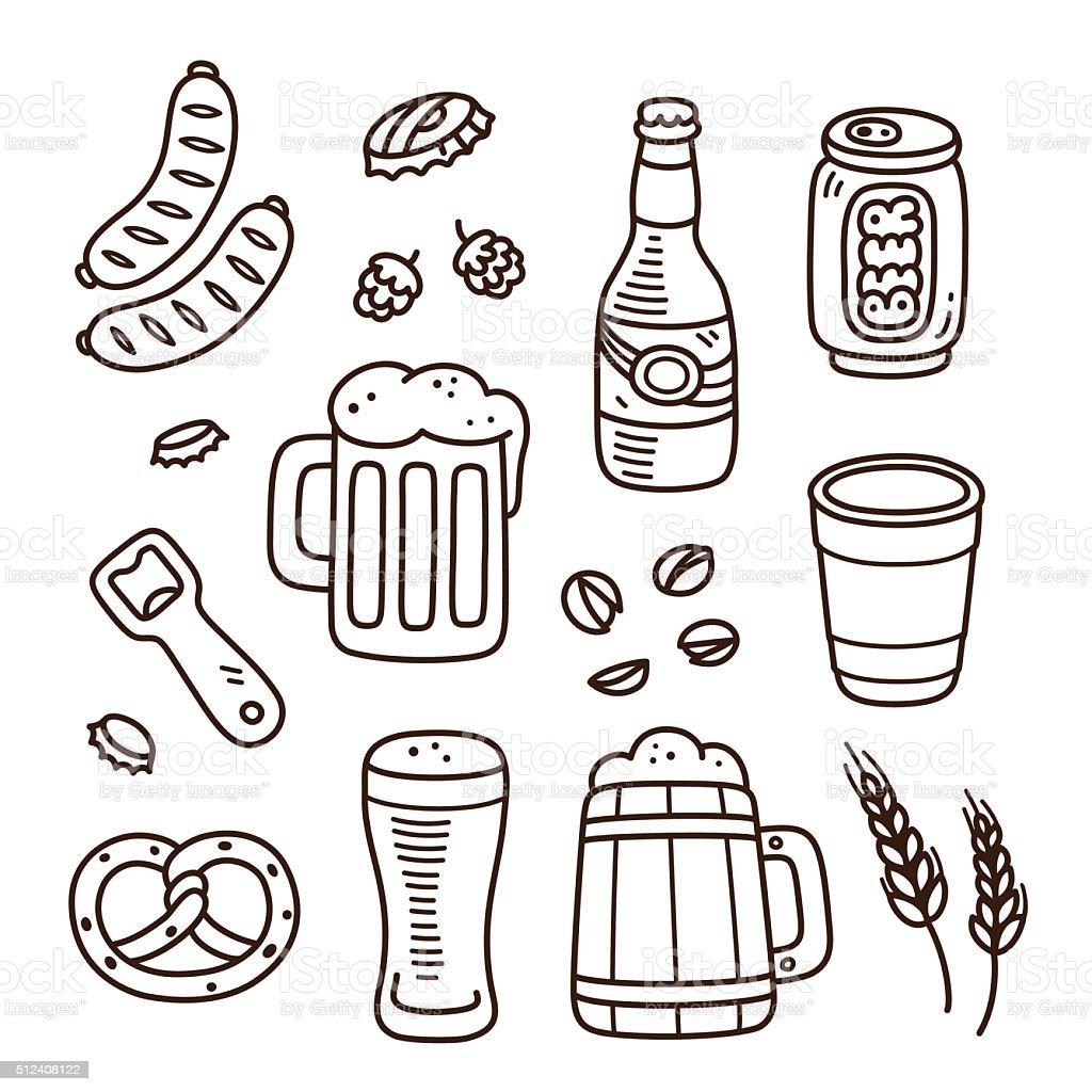 Hand drawn beer doodles vector art illustration