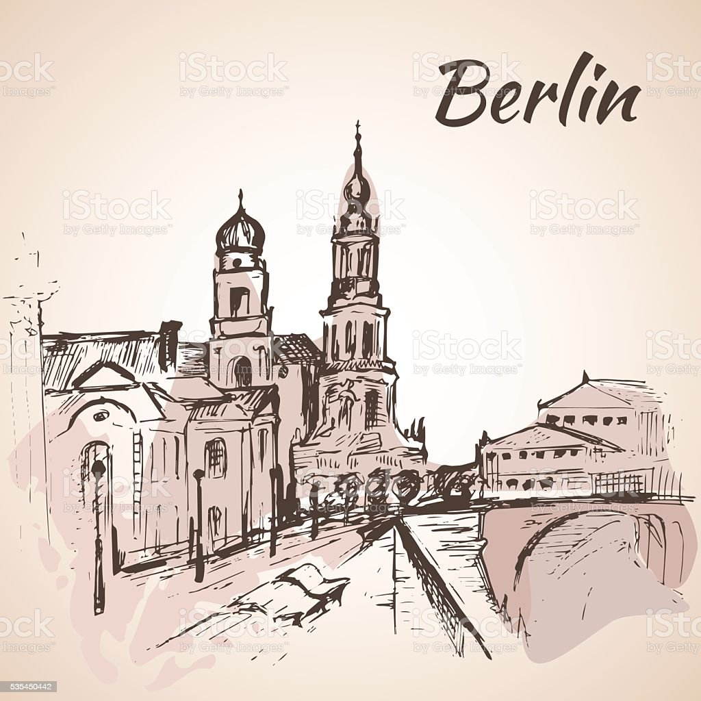 Hand drawn Berlin street near the river with benches vector art illustration