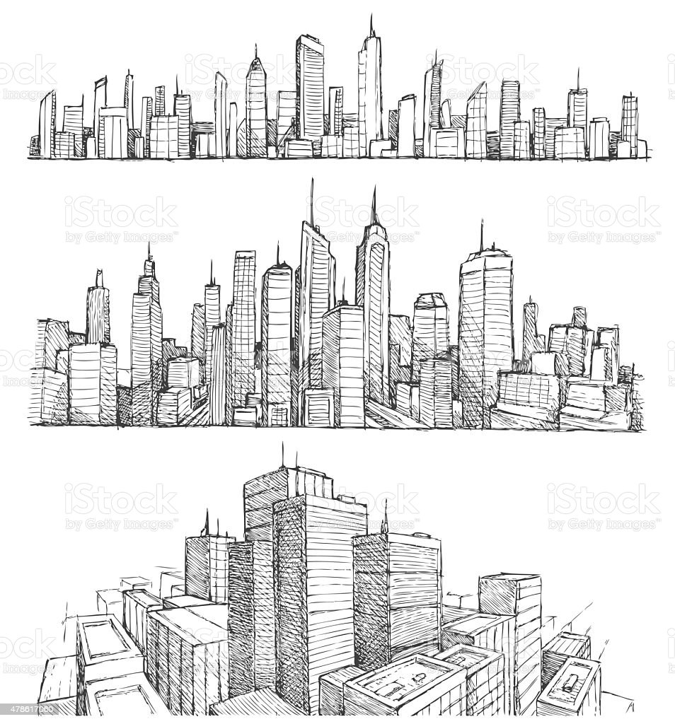 Hand drawn big city cityscapes and buildings vector art illustration