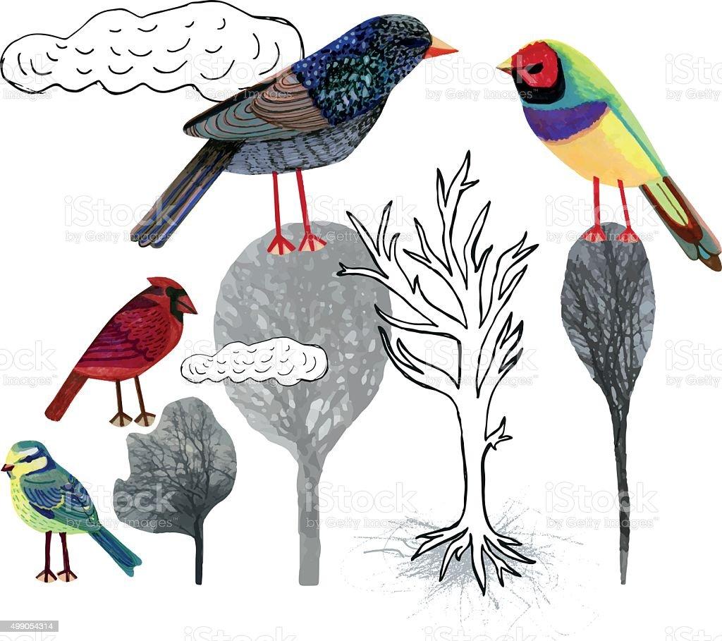 Hand drawn birds on trees vector art illustration