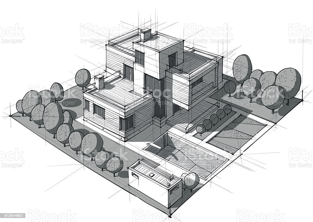 Hand drawn black and white architecture vector art illustration