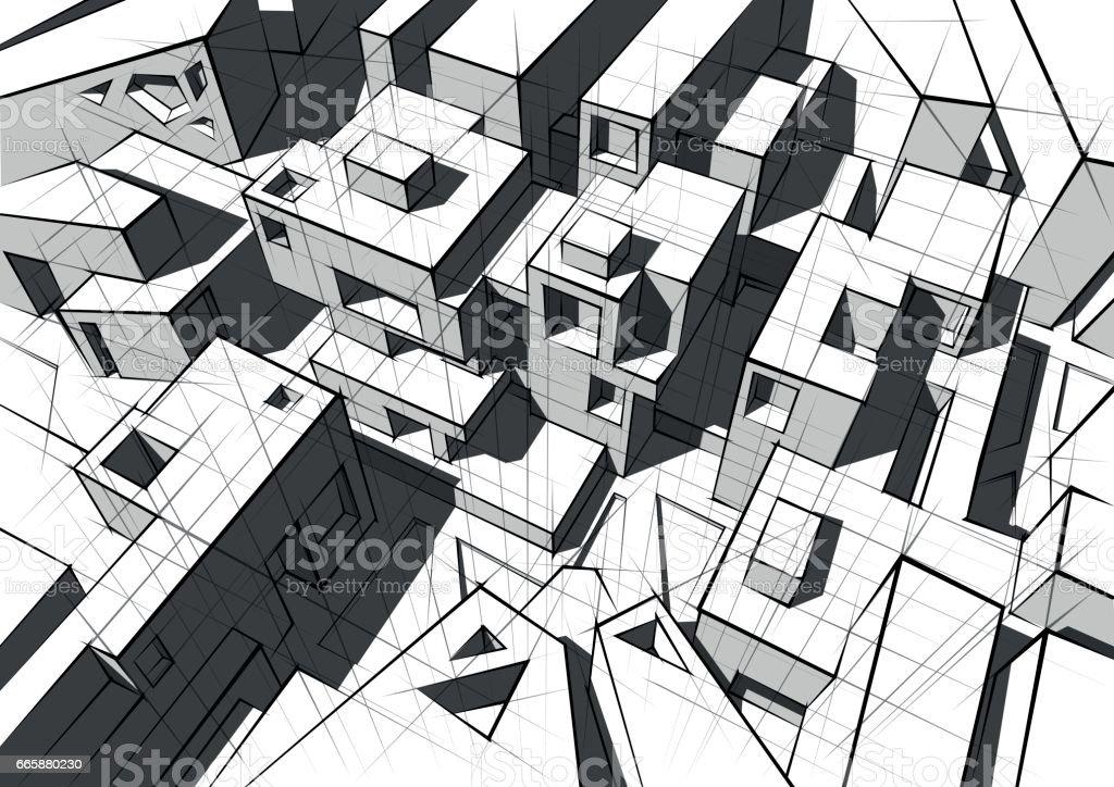 Hand drawn black and white architecture vector art illustration