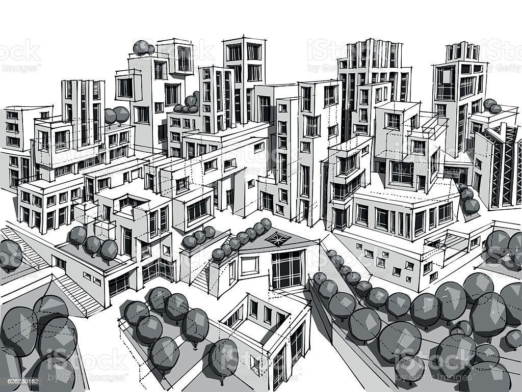 Hand drawn black and white city architecture vector art illustration