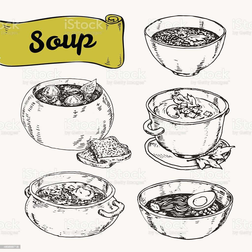 Hand drawn black and white collection of national soups vector art illustration