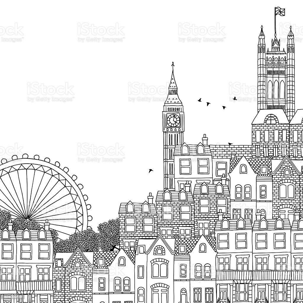 Hand drawn black and white illustration of London vector art illustration