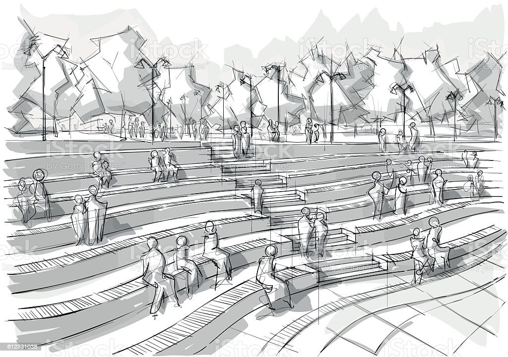 Hand drawn black and white landscape architecture vector art illustration