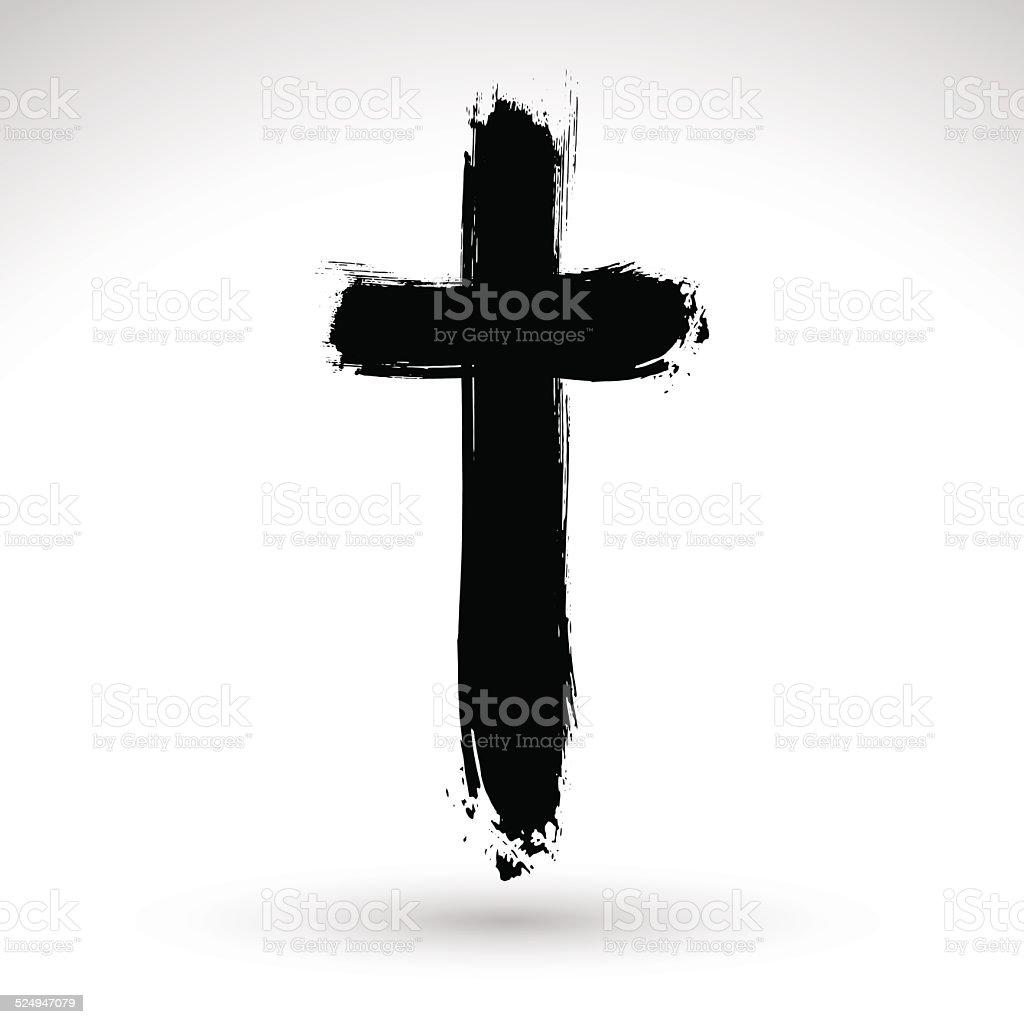 Hand drawn black grunge cross icon, simple Christian cross sign, vector art illustration