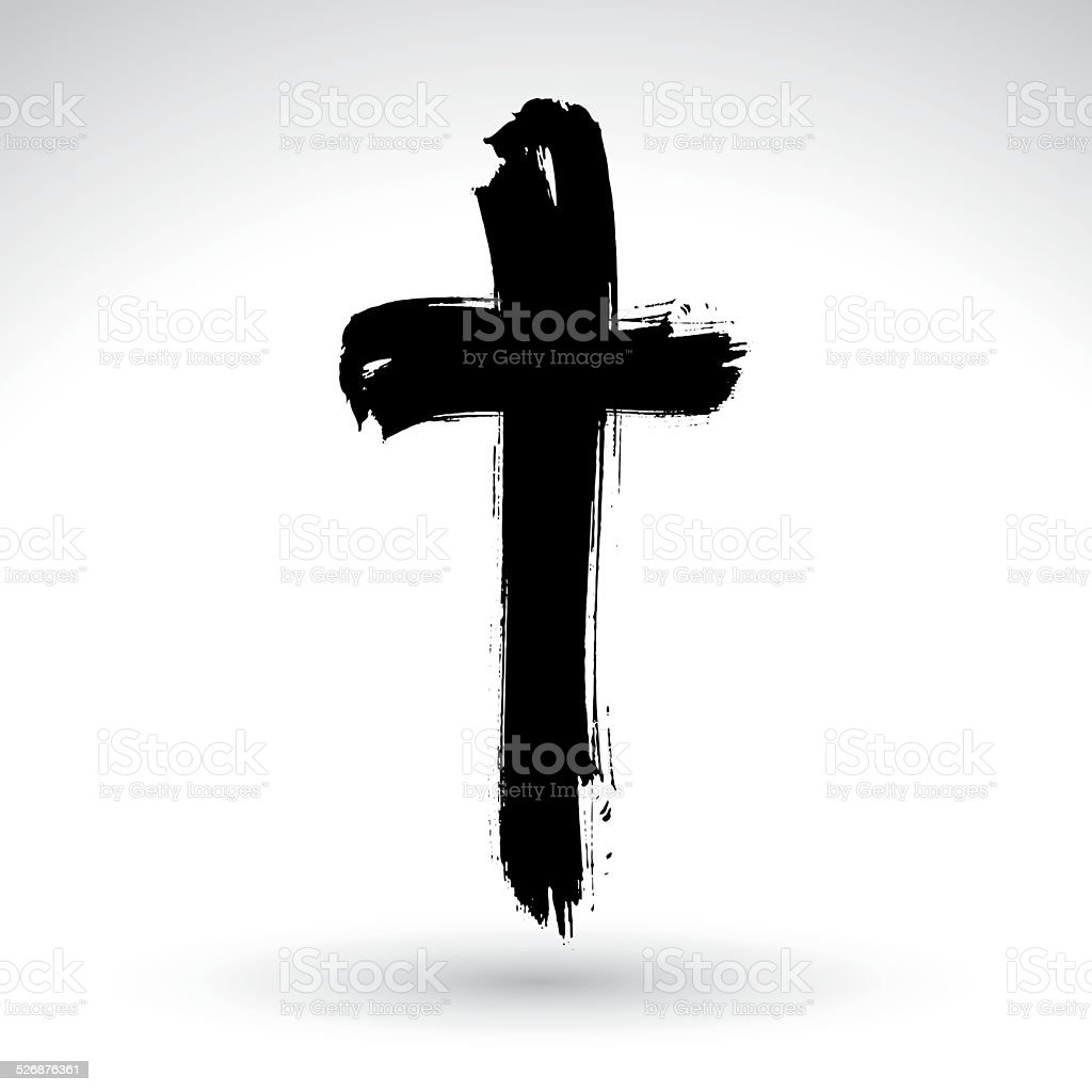 Hand drawn black grunge cross icon, simple Christian cross sign, vector art illustration