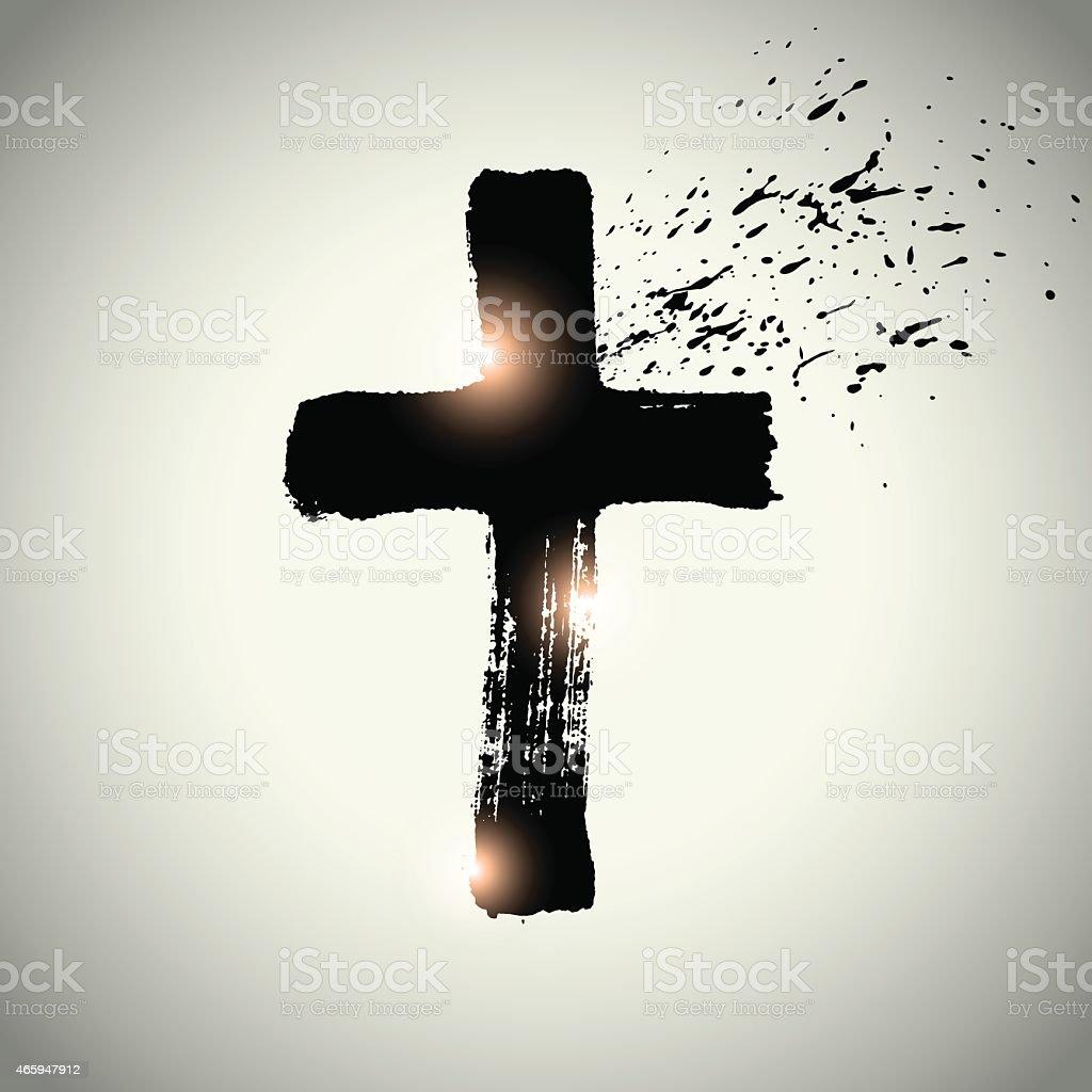 Hand drawn black grunge cross, simple Christian cross sign vector art illustration
