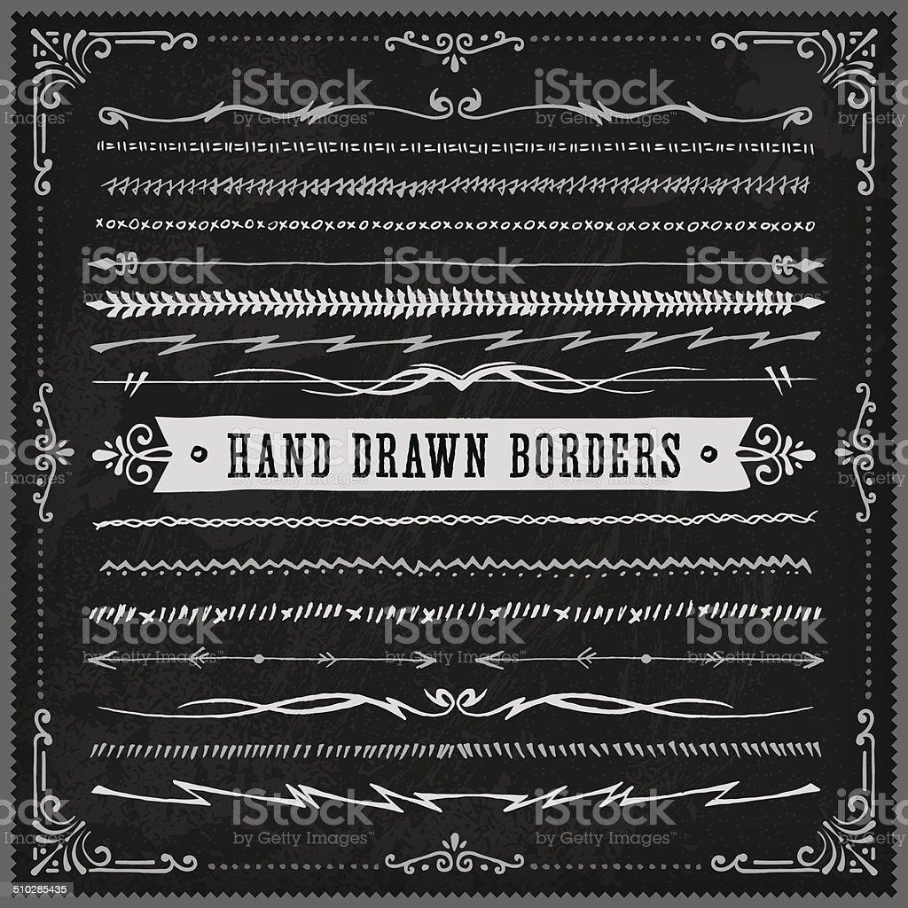 Hand Drawn Blackboard Borders (Long) vector art illustration