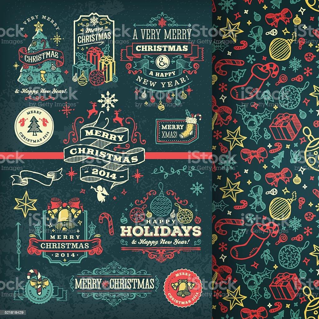Hand Drawn Blackboard Christmas Labels & Badges vector art illustration