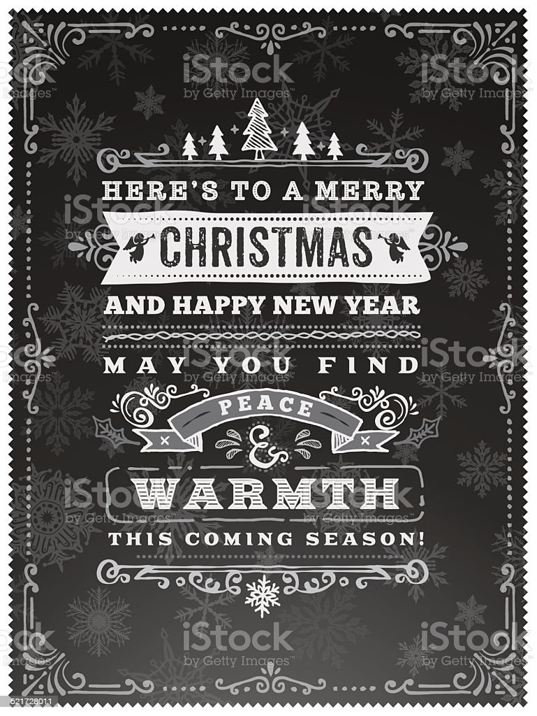 Hand Drawn Blackboard Christmas Wishes vector art illustration