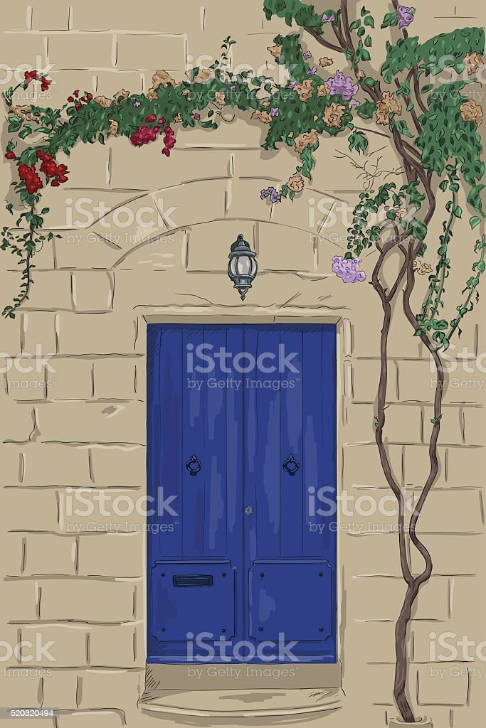 Hand drawn blue door with lamp. Climbing tree on wall vector art illustration