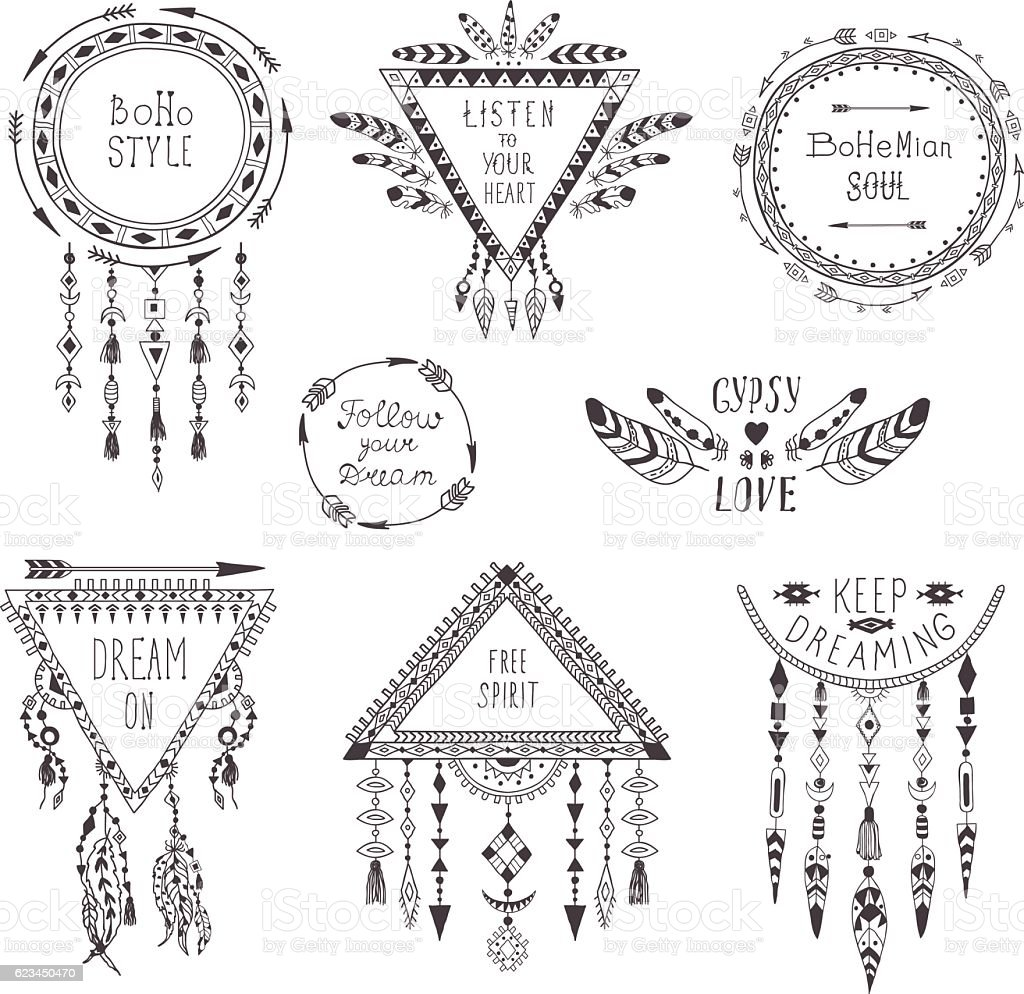 Hand Drawn Boho Style Frames and Decorations. vector art illustration