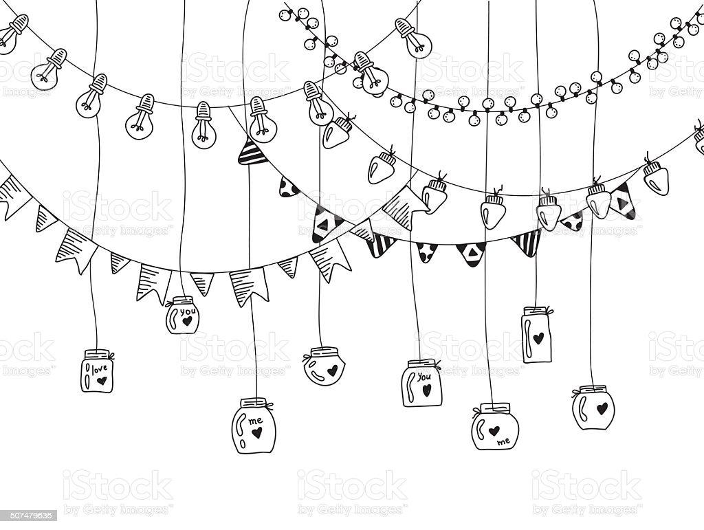 Hand drawn borders,garland and jars. vector art illustration