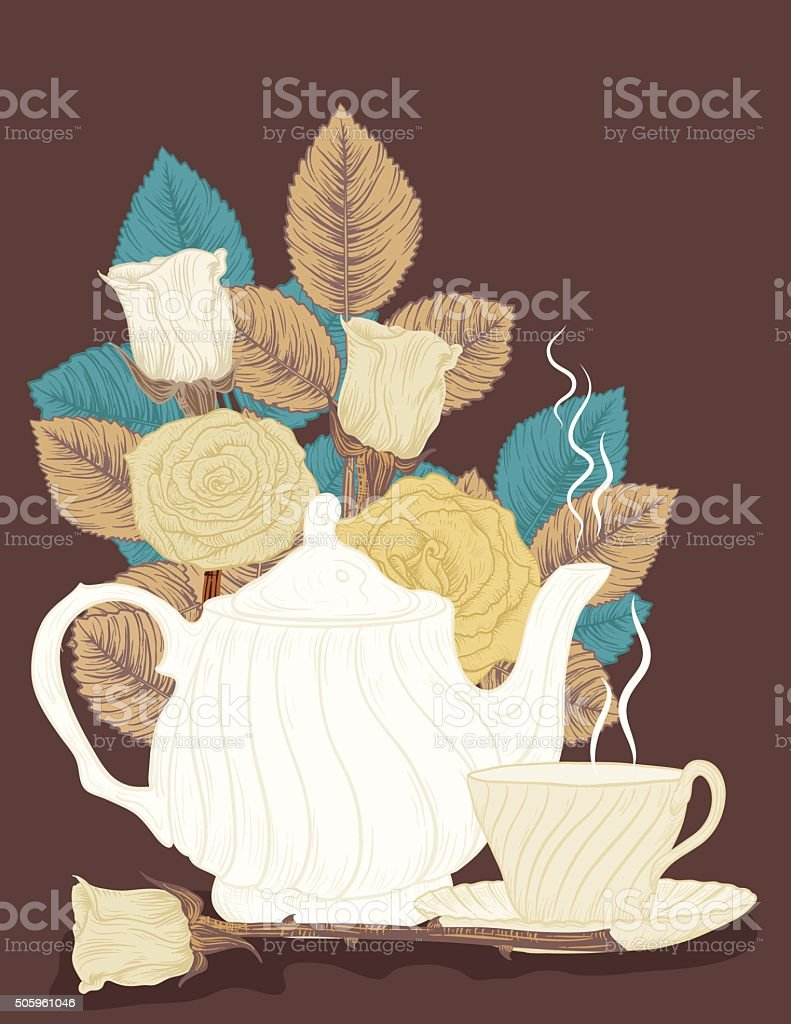 Hand Drawn Botanical Roses and teapot vector art illustration