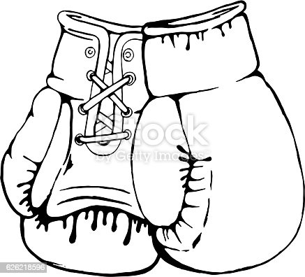 Hand Drawn Boxing Gloves Isolated On White Background Boxing Gloves Coloring Pages