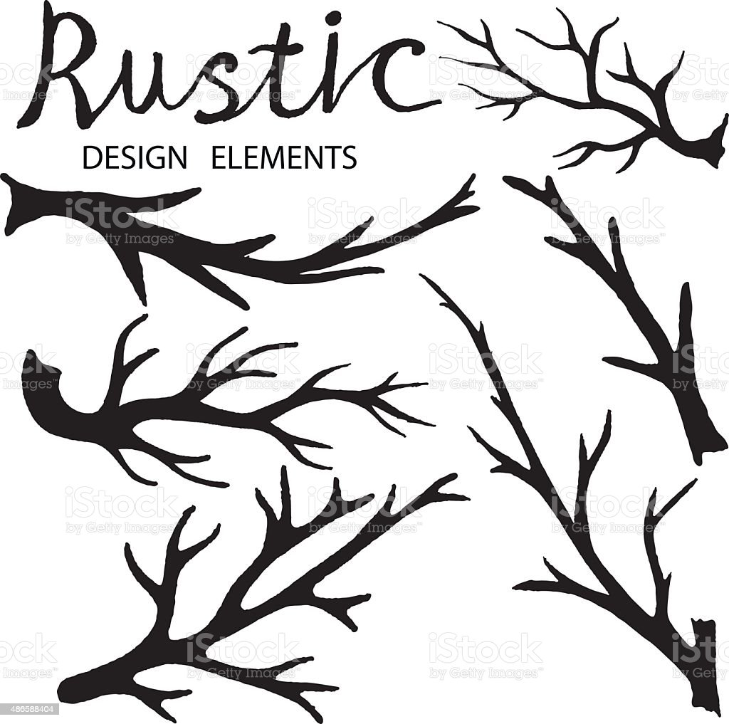 Hand drawn branches vector art illustration