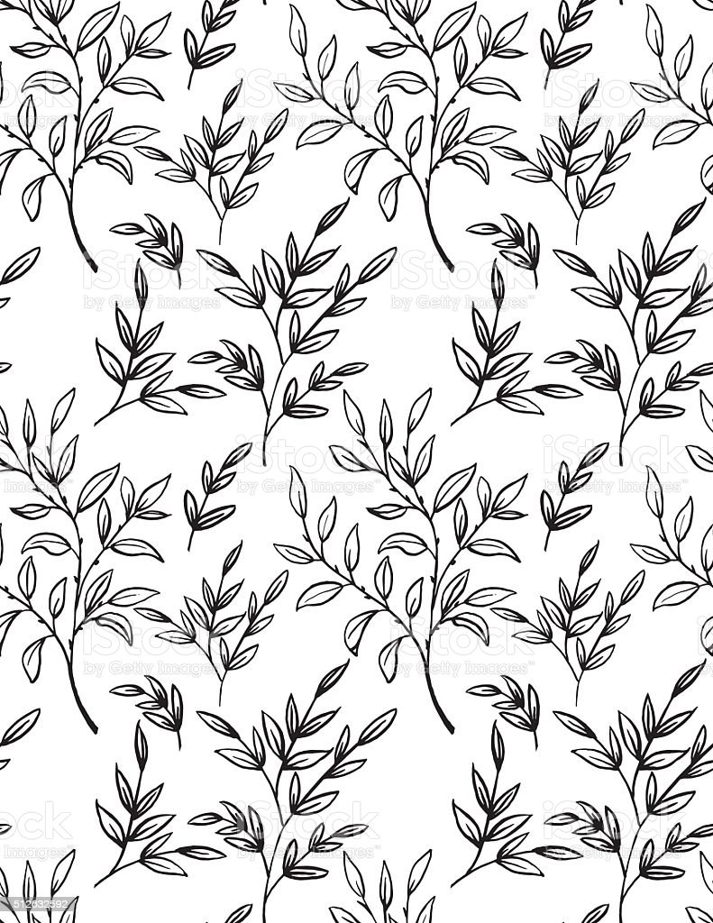 Hand Drawn Branches With leaves Seamless pattern vector art illustration