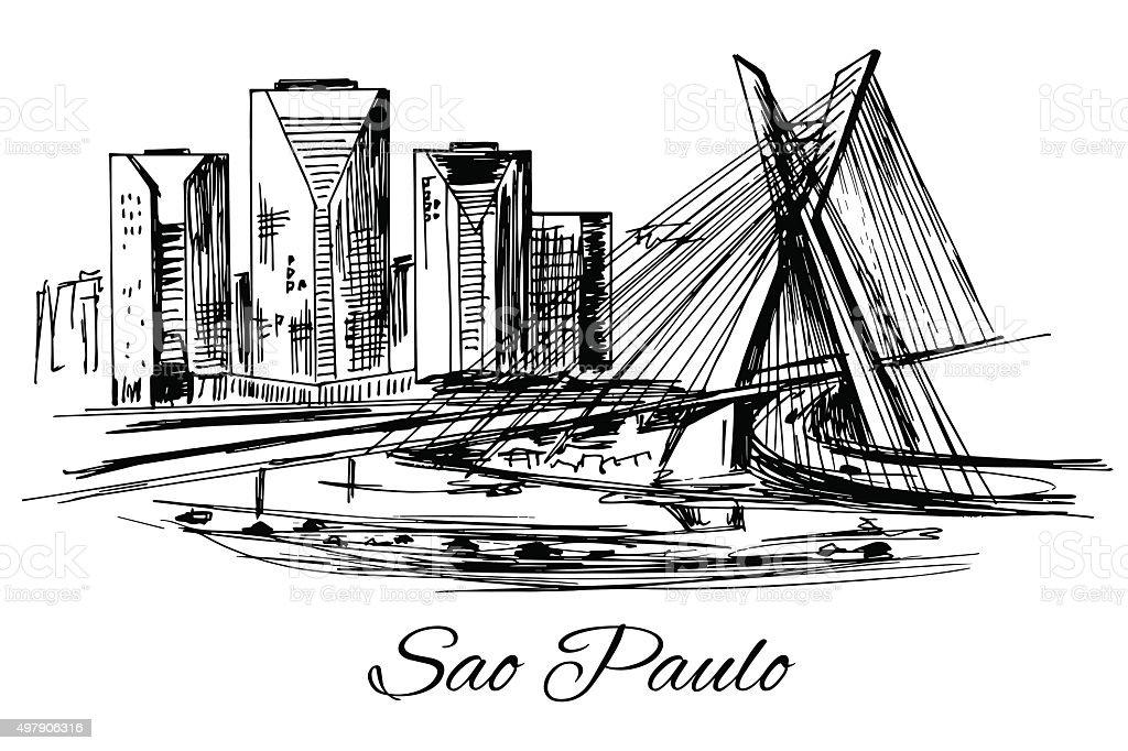 Hand drawn Brazil Sao Paulo bridge vector art illustration