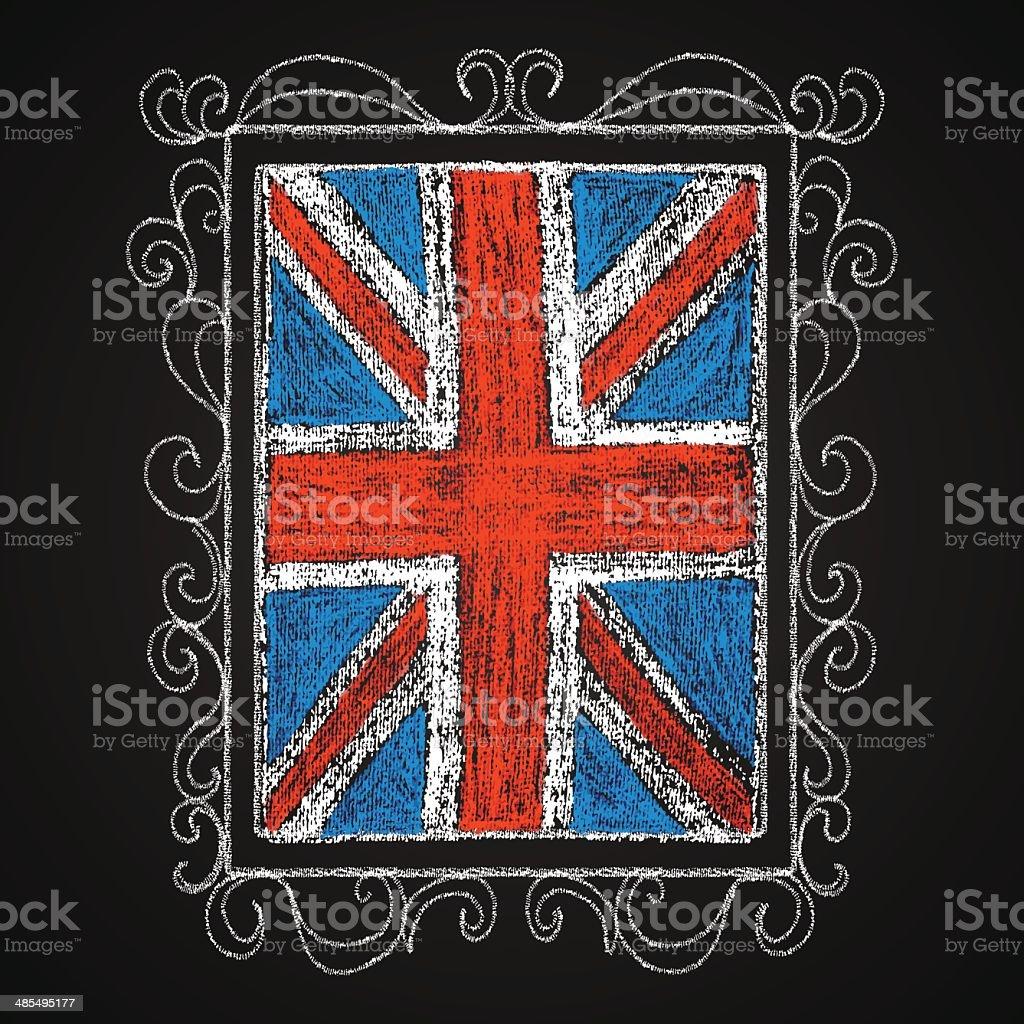 Hand drawn british flag. vector art illustration